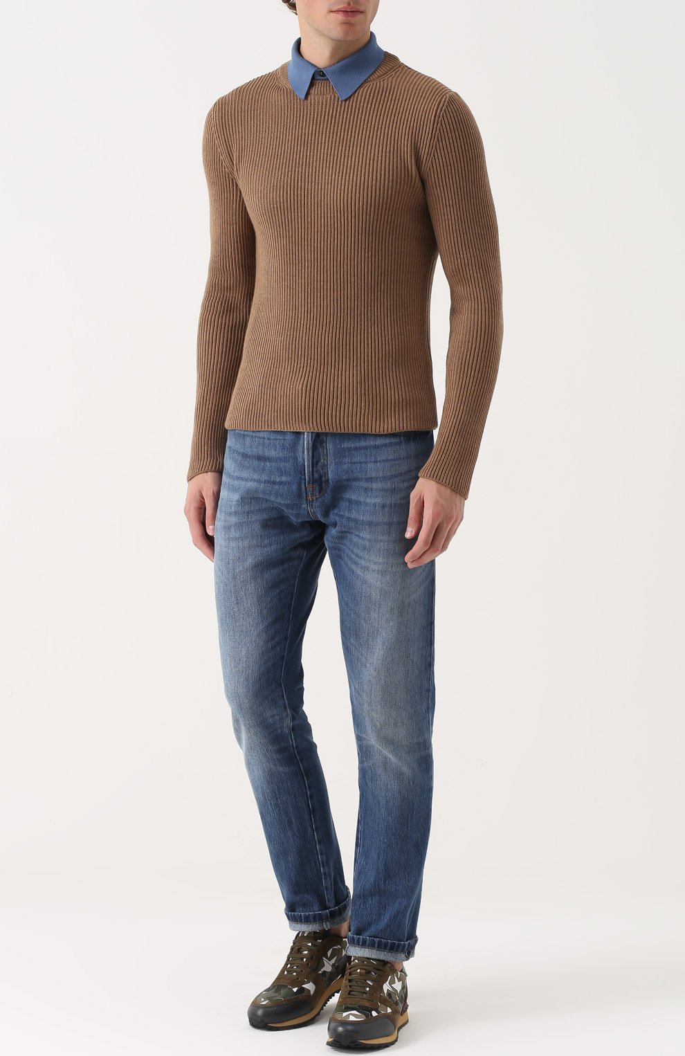 Джемпер из шерсти фактурной вязки с контрастным воротником | Фото №2