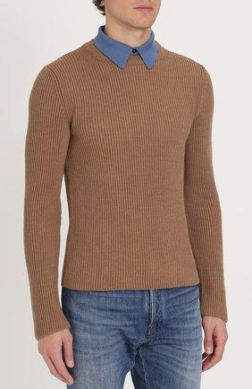 Джемпер из шерсти фактурной вязки с контрастным воротником | Фото №3