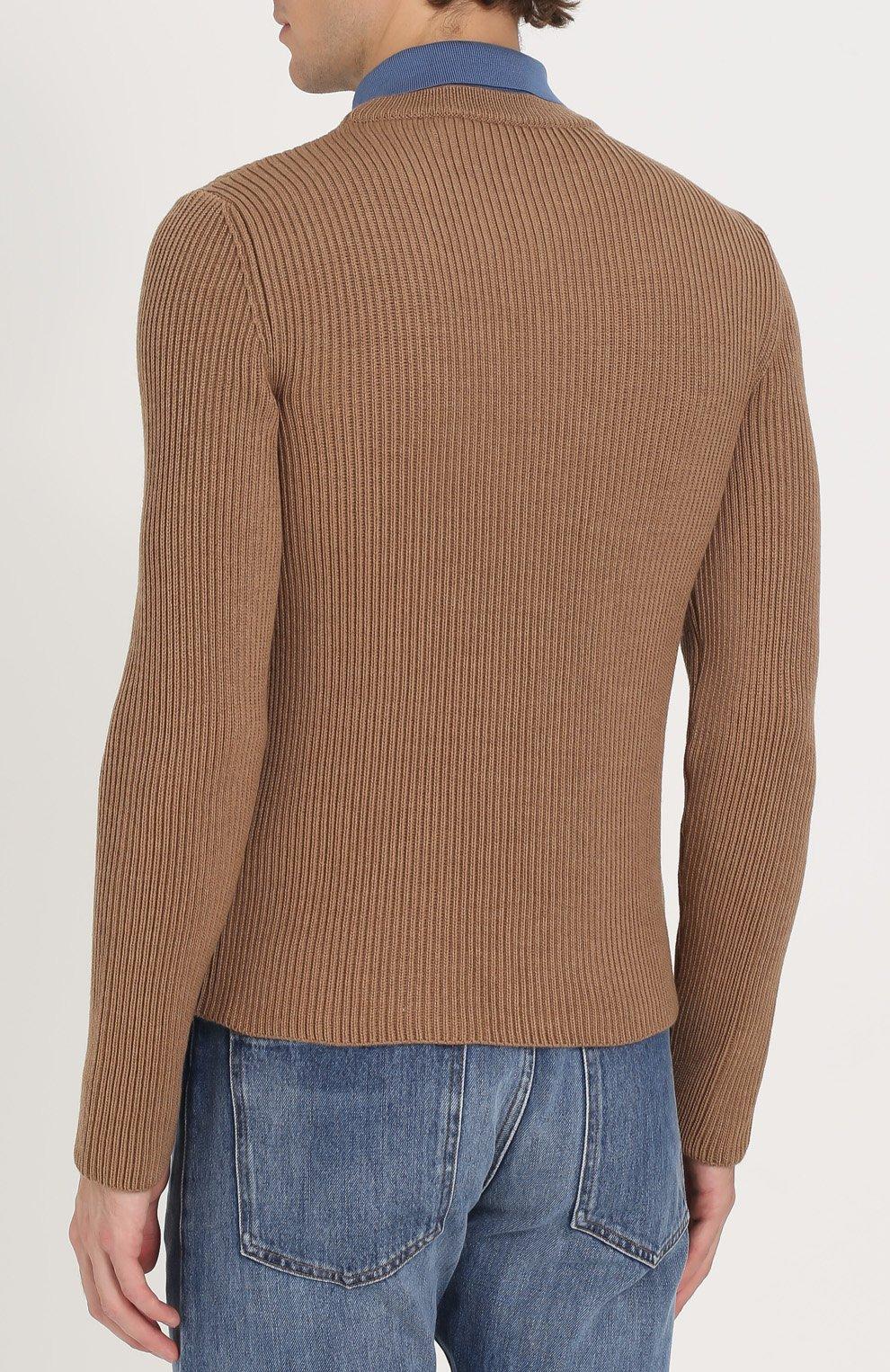 Джемпер из шерсти фактурной вязки с контрастным воротником | Фото №4