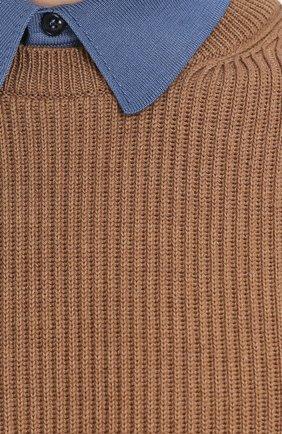 Джемпер из шерсти фактурной вязки с контрастным воротником | Фото №5