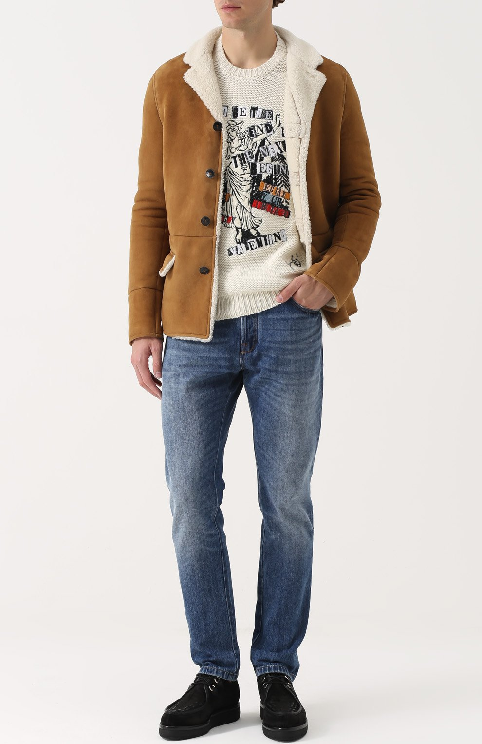 Джемпер из смеси шерсти и кашемира с контрастной отделкой   Фото №2