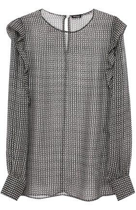 Шелковая полупрозрачная блуза с оборками | Фото №1