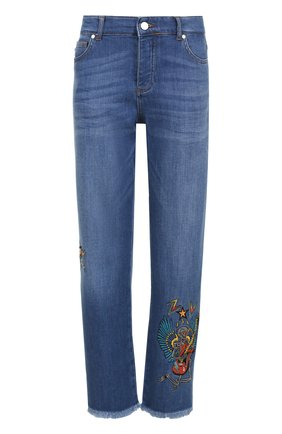 Укороченные джинсы прямого кроя с вышивкой | Фото №1