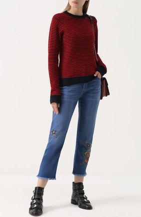 Укороченные джинсы прямого кроя с вышивкой Zadig&Voltaire голубые | Фото №1
