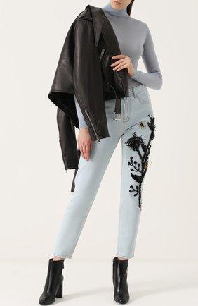 Укороченные джинсы прямого кроя с вышивкой Dalood голубые   Фото №1