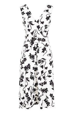 Приталенное платье с принтом и поясом Altuzarra черно-белое   Фото №1