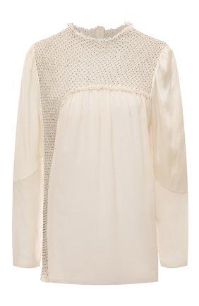 Шелковая блуза с декоративной отделкой | Фото №1