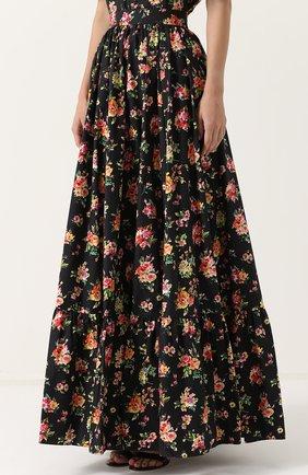 Юбка-макси с цветочным принтом Dolce & Gabbana разноцветная | Фото №3