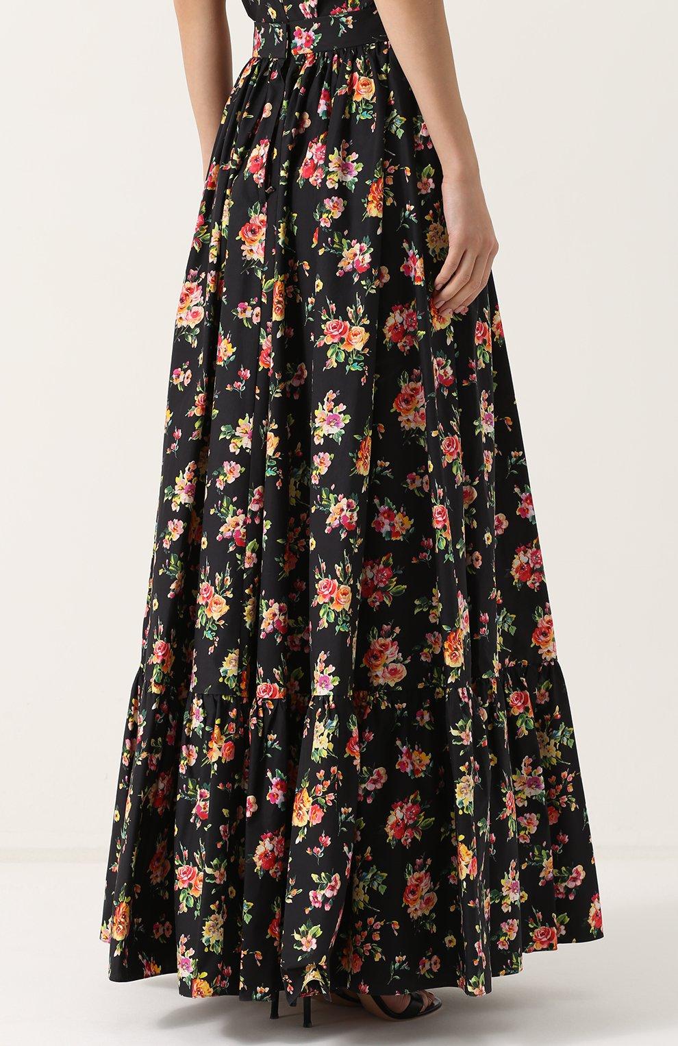 Юбка-макси с цветочным принтом Dolce & Gabbana разноцветная | Фото №4