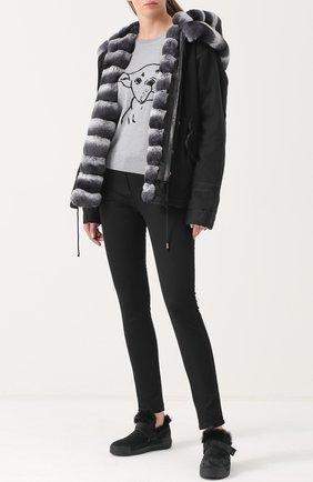 Куртка с капюшоном и внутренней отделкой из меха AS65 черная | Фото №1