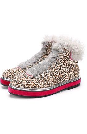 Меховые ботинки с принтом под леопарда   Фото №1