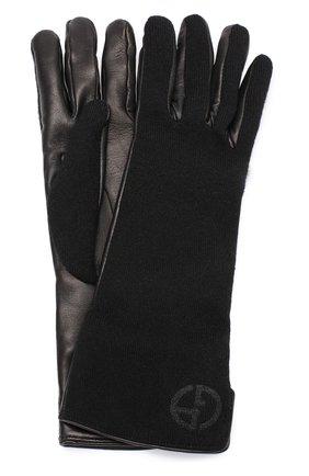 Кожаные перчатки с отделкой из кашемира | Фото №1