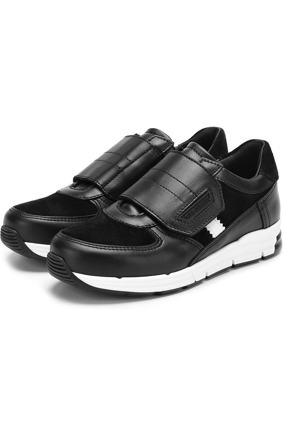 Кожаные кроссовки с замшевыми вставками и застежками велькро | Фото №1