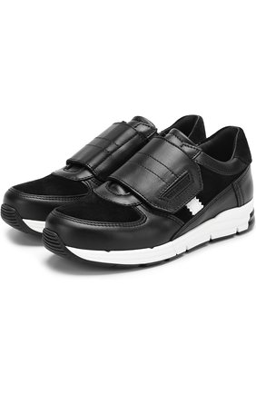 Детские кожаные кроссовки с замшевыми вставками и застежками велькро Dolce & Gabbana черно-белого цвета | Фото №1