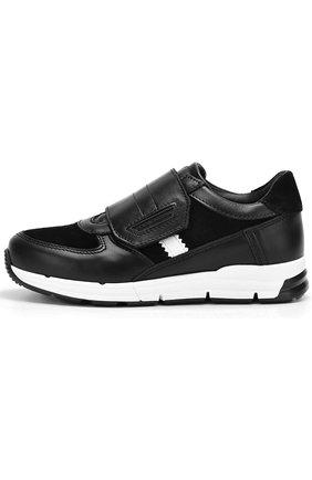 Детские кожаные кроссовки с замшевыми вставками и застежками велькро Dolce & Gabbana черно-белого цвета | Фото №2