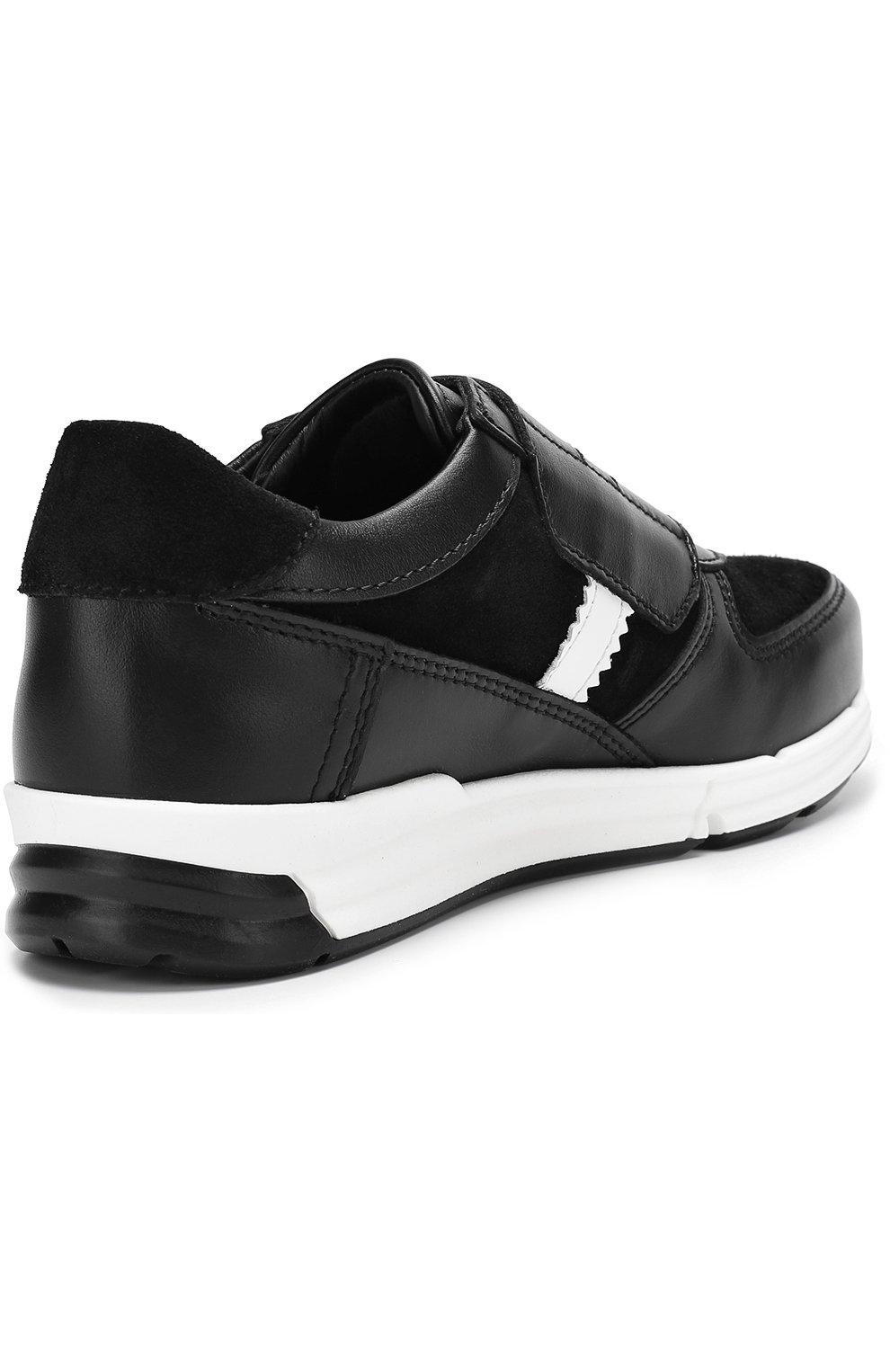 Детские кожаные кроссовки с замшевыми вставками и застежками велькро Dolce & Gabbana черно-белого цвета | Фото №3