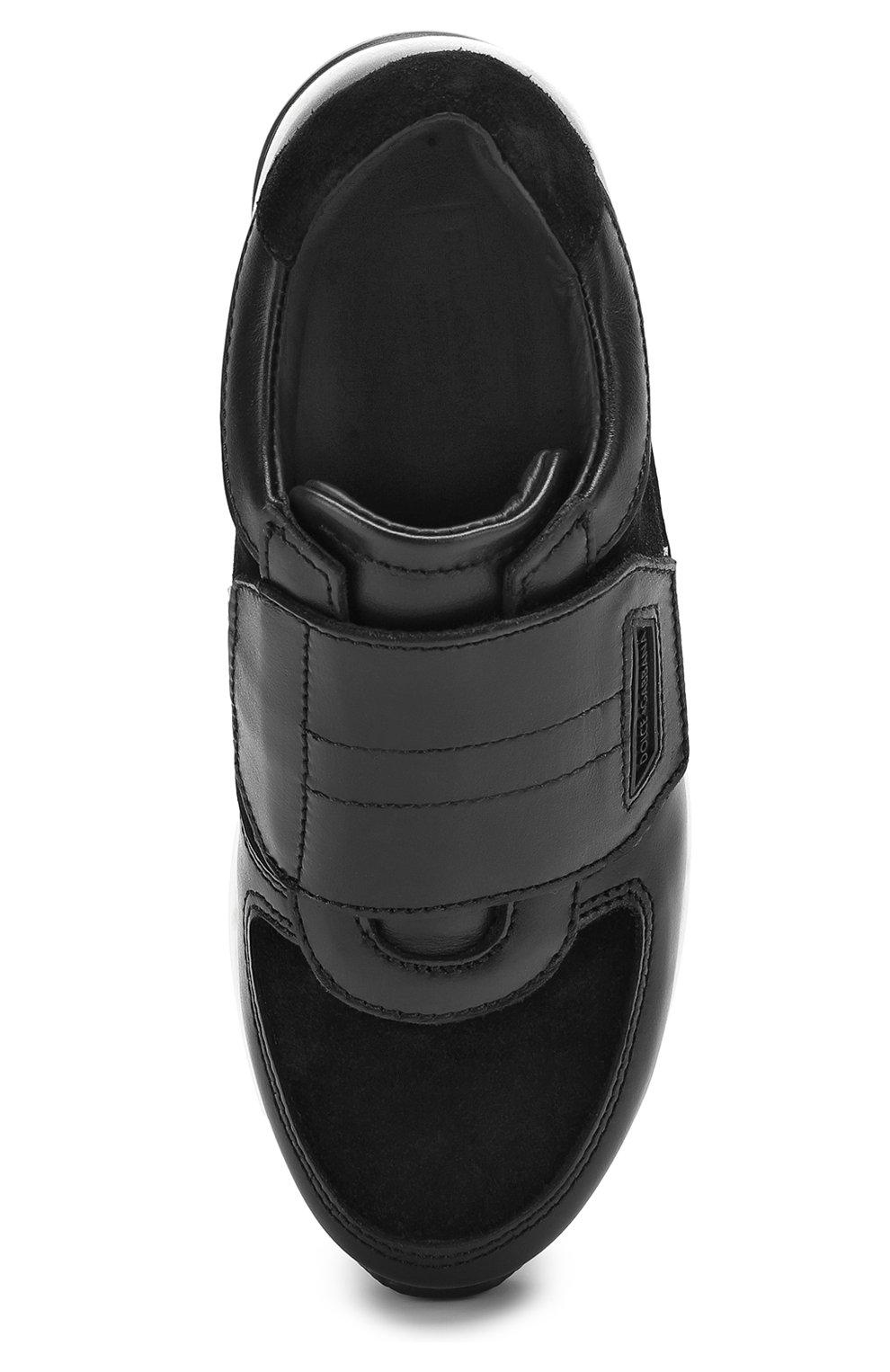Детские кожаные кроссовки с замшевыми вставками и застежками велькро Dolce & Gabbana черно-белого цвета | Фото №4