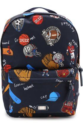 Рюкзак с принтом Dolce & Gabbana темно-синего цвета | Фото №1