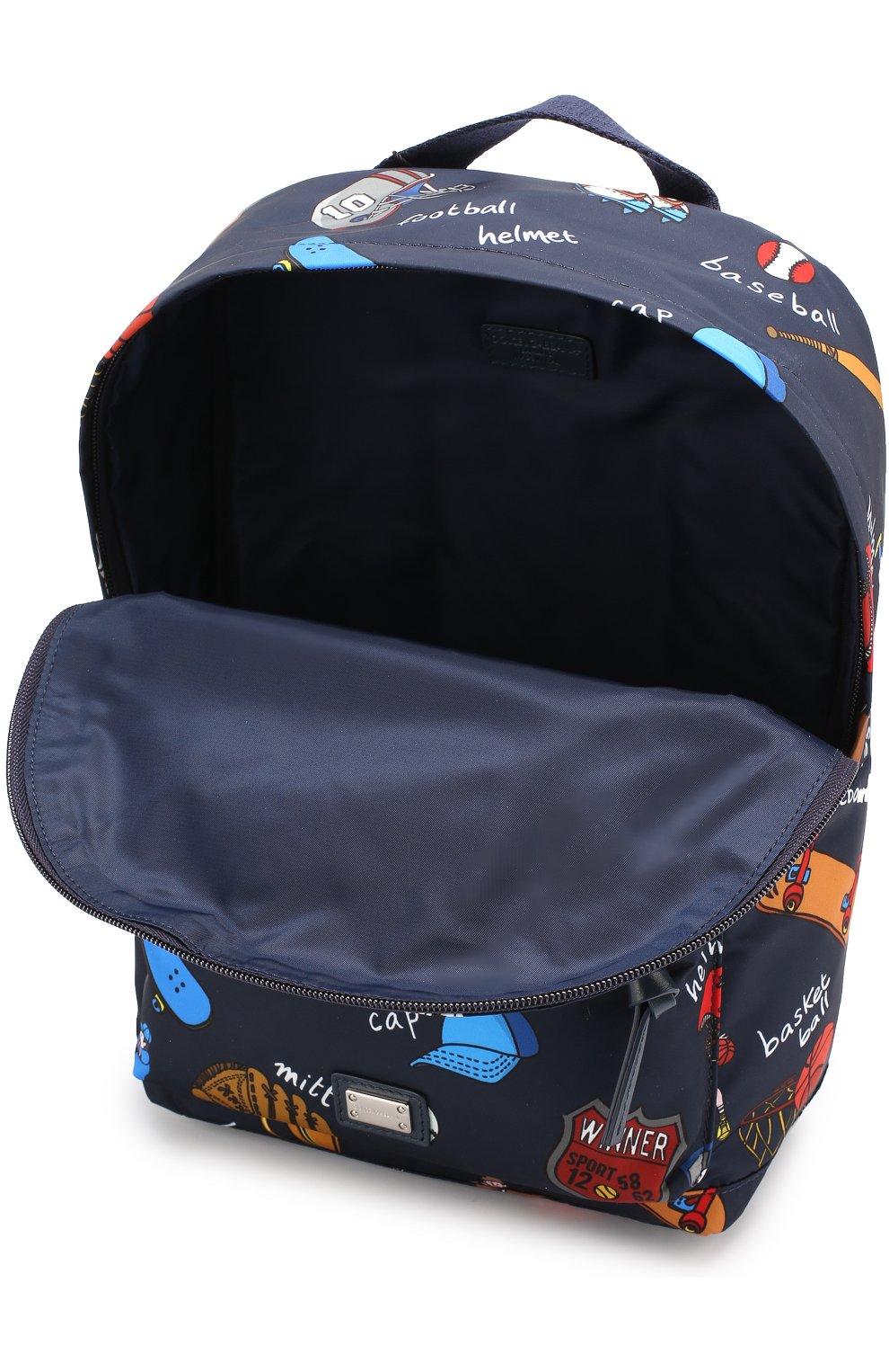 Рюкзак с принтом Dolce & Gabbana темно-синего цвета | Фото №3