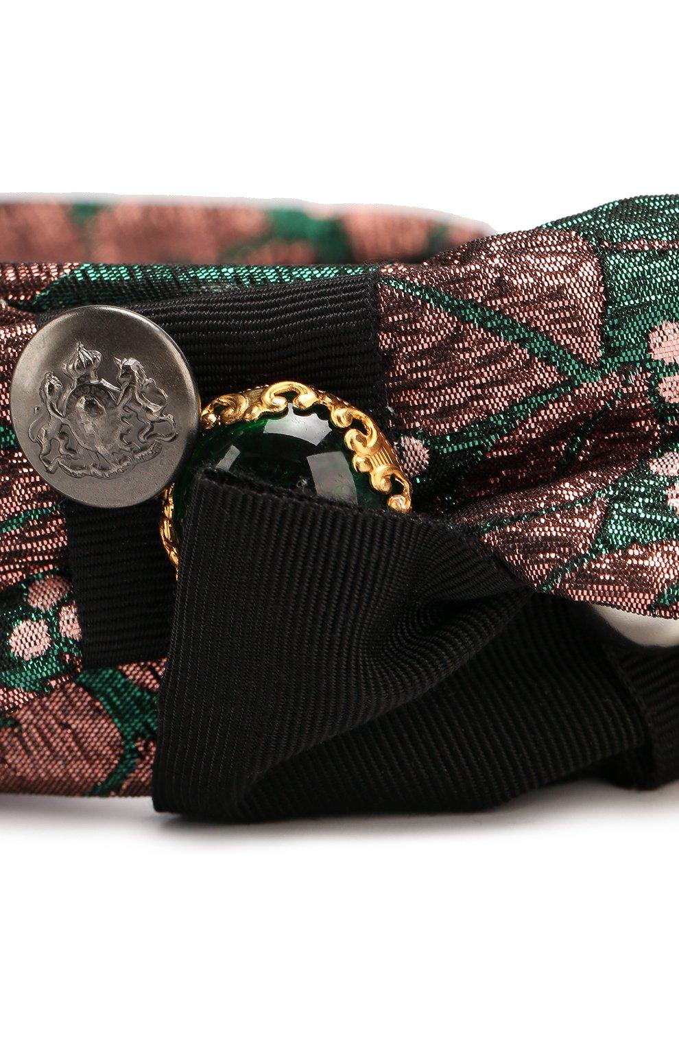 Ободок с бантами с декором Dolce & Gabbana бронзового цвета   Фото №3