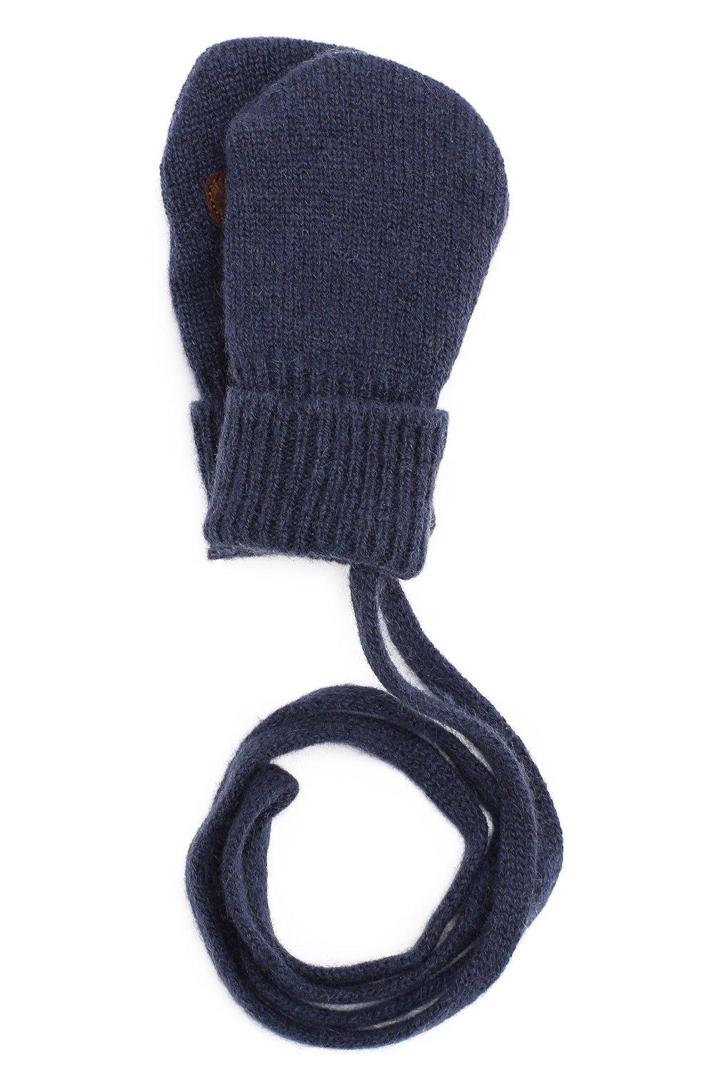 Варежки из смеси шерсти и кашемира с аппликацией | Фото №1