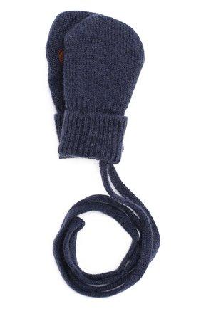 Варежки из смеси шерсти и кашемира с аппликацией Dolce & Gabbana темно-синего цвета | Фото №1