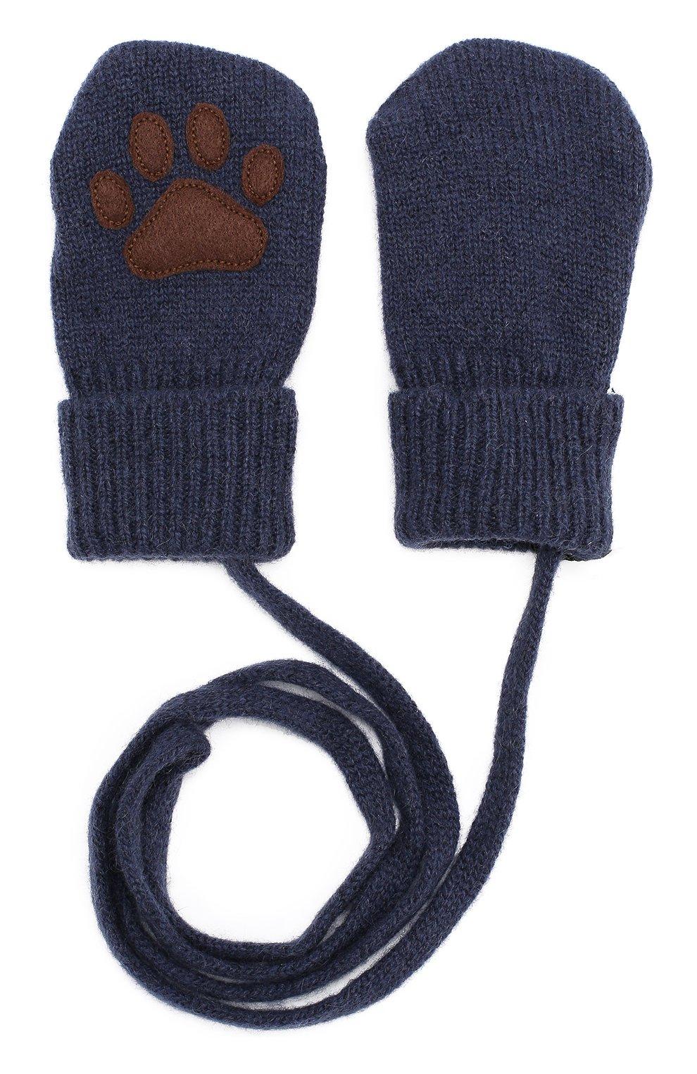 Варежки из смеси шерсти и кашемира с аппликацией Dolce & Gabbana темно-синего цвета | Фото №2