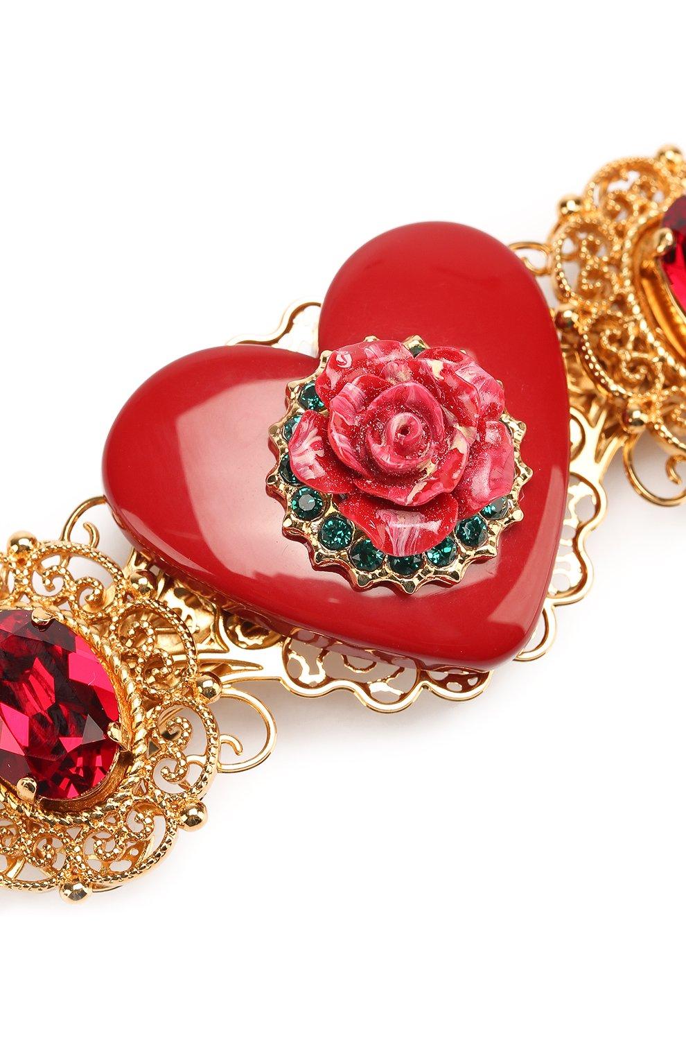 Заколка с декором Dolce & Gabbana золотого цвета | Фото №3