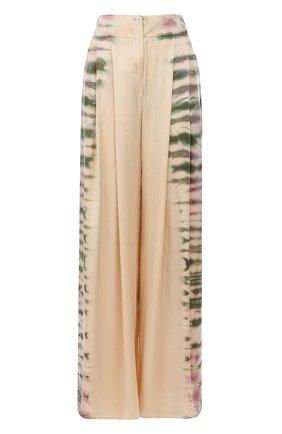 Шелковые брюки с принтом Raquel Allegra бежевые | Фото №1