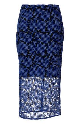 Юбка-миди с декоративной отделкой Diane Von Furstenberg синяя   Фото №1