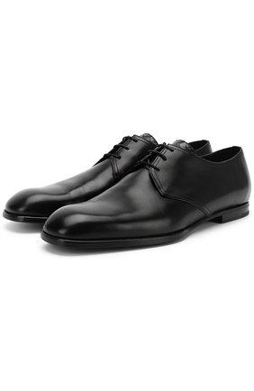 Мужской классические кожаные дерби BOTTEGA VENETA черного цвета, арт. 475137/VBFV1 | Фото 1