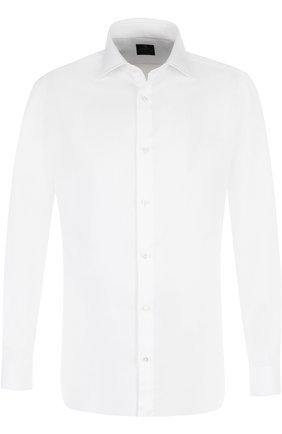 Хлопковая сорочка с воротником кент Luigi Borrelli белая | Фото №1