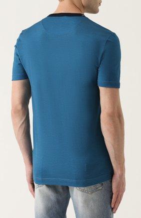 Хлопковая футболка с принтом Dolce & Gabbana синяя | Фото №4