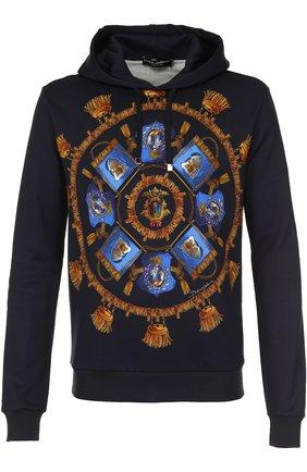 Хлопковое худи с принтом Dolce & Gabbana синий | Фото №1