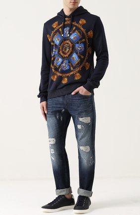 Хлопковое худи с принтом Dolce & Gabbana синий | Фото №2