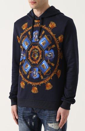 Хлопковое худи с принтом Dolce & Gabbana синий | Фото №3