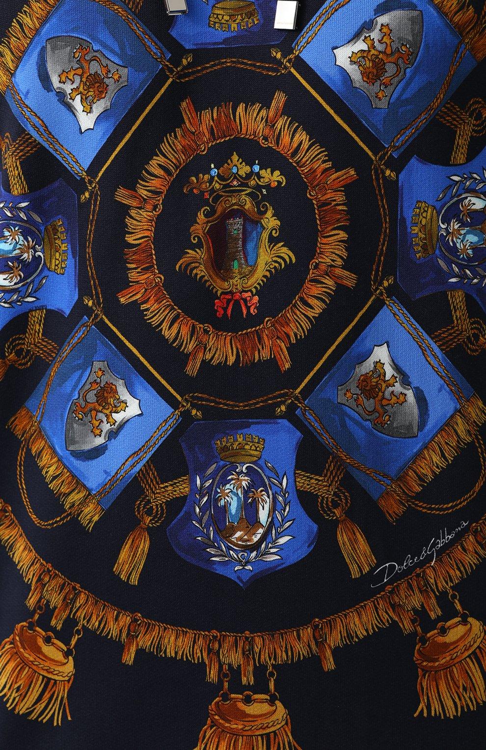 Хлопковое худи с принтом Dolce & Gabbana синий | Фото №5