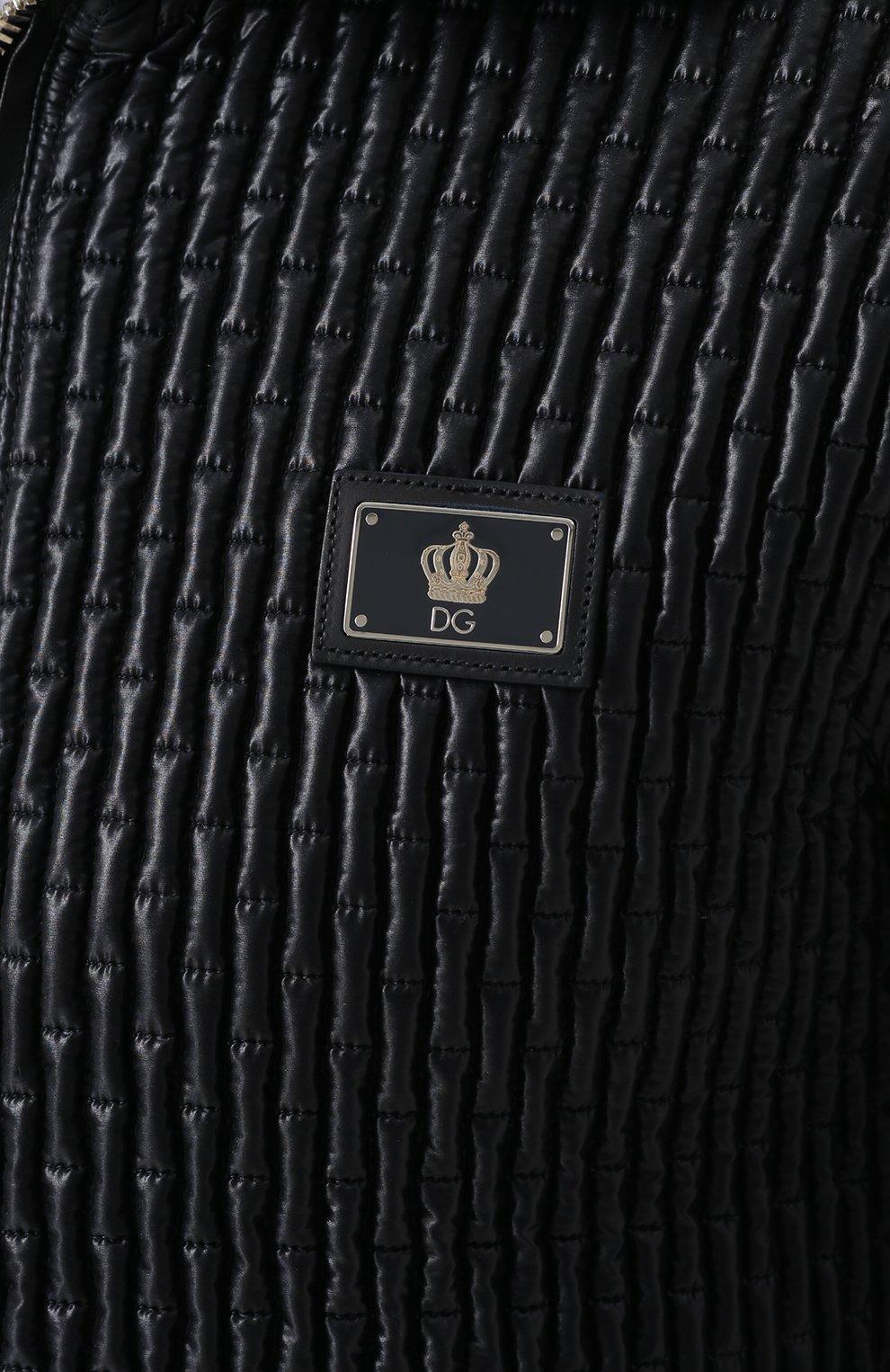 Стеганый бомбер на молнии с воротником-стойкой Dolce & Gabbana синяя | Фото №5