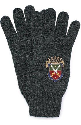 Шерстяные перчатки с вышивкой Dolce & Gabbana темно-зеленые | Фото №1