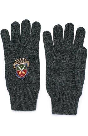 Шерстяные перчатки с вышивкой Dolce & Gabbana темно-зеленые | Фото №2