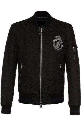 Бомбер на молнии из смеси шерсти и хлопка с шелком Dolce & Gabbana черная   Фото №1