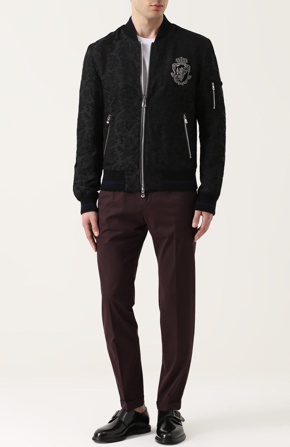 Бомбер на молнии из смеси шерсти и хлопка с шелком Dolce & Gabbana черная   Фото №2