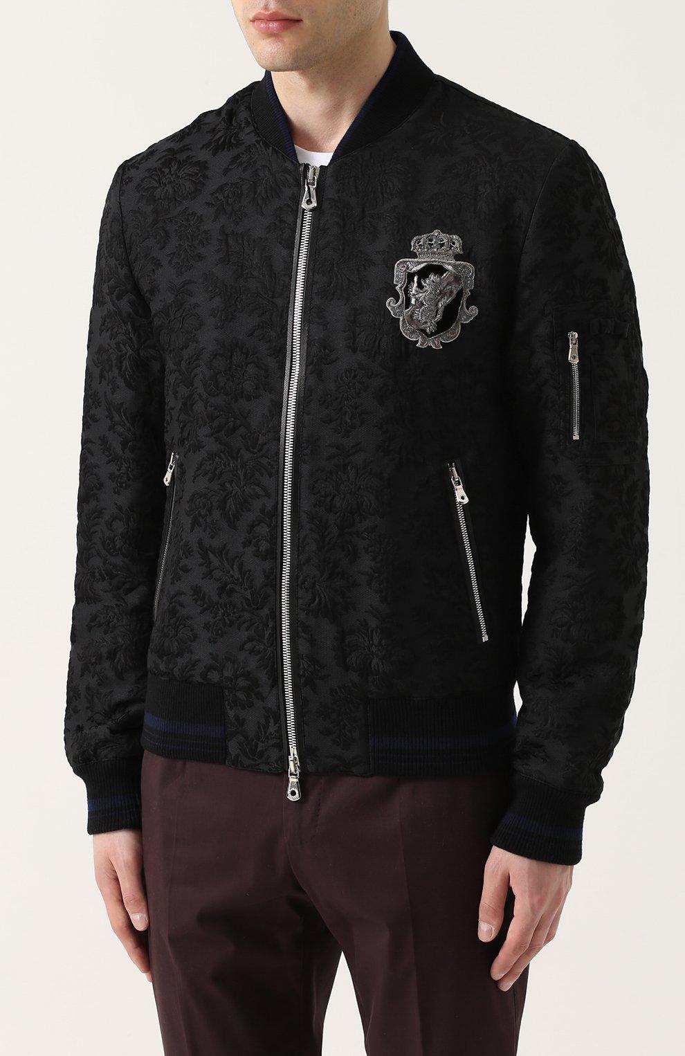 Бомбер на молнии из смеси шерсти и хлопка с шелком Dolce & Gabbana черная   Фото №3