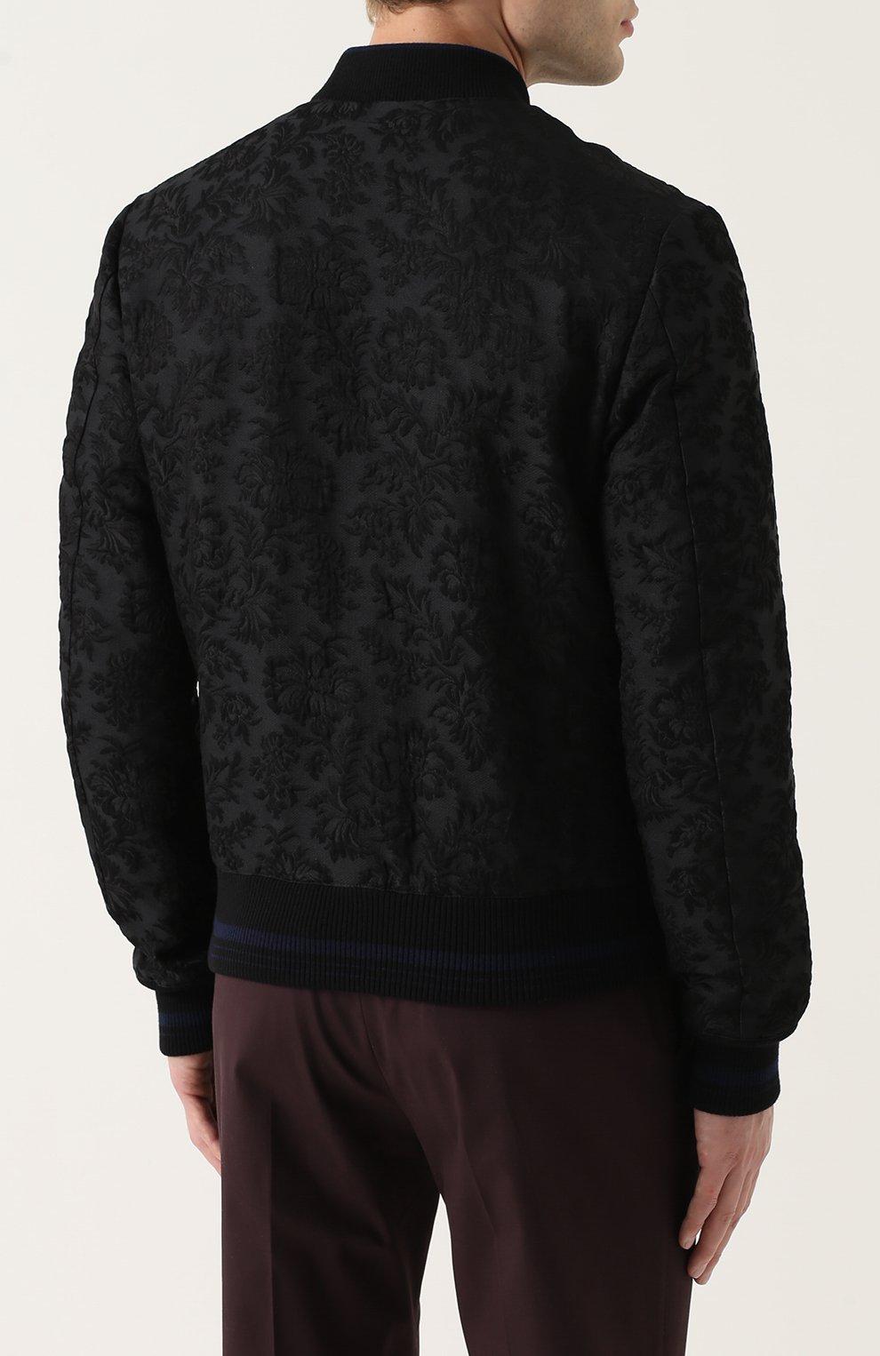 Бомбер на молнии из смеси шерсти и хлопка с шелком Dolce & Gabbana черная   Фото №4