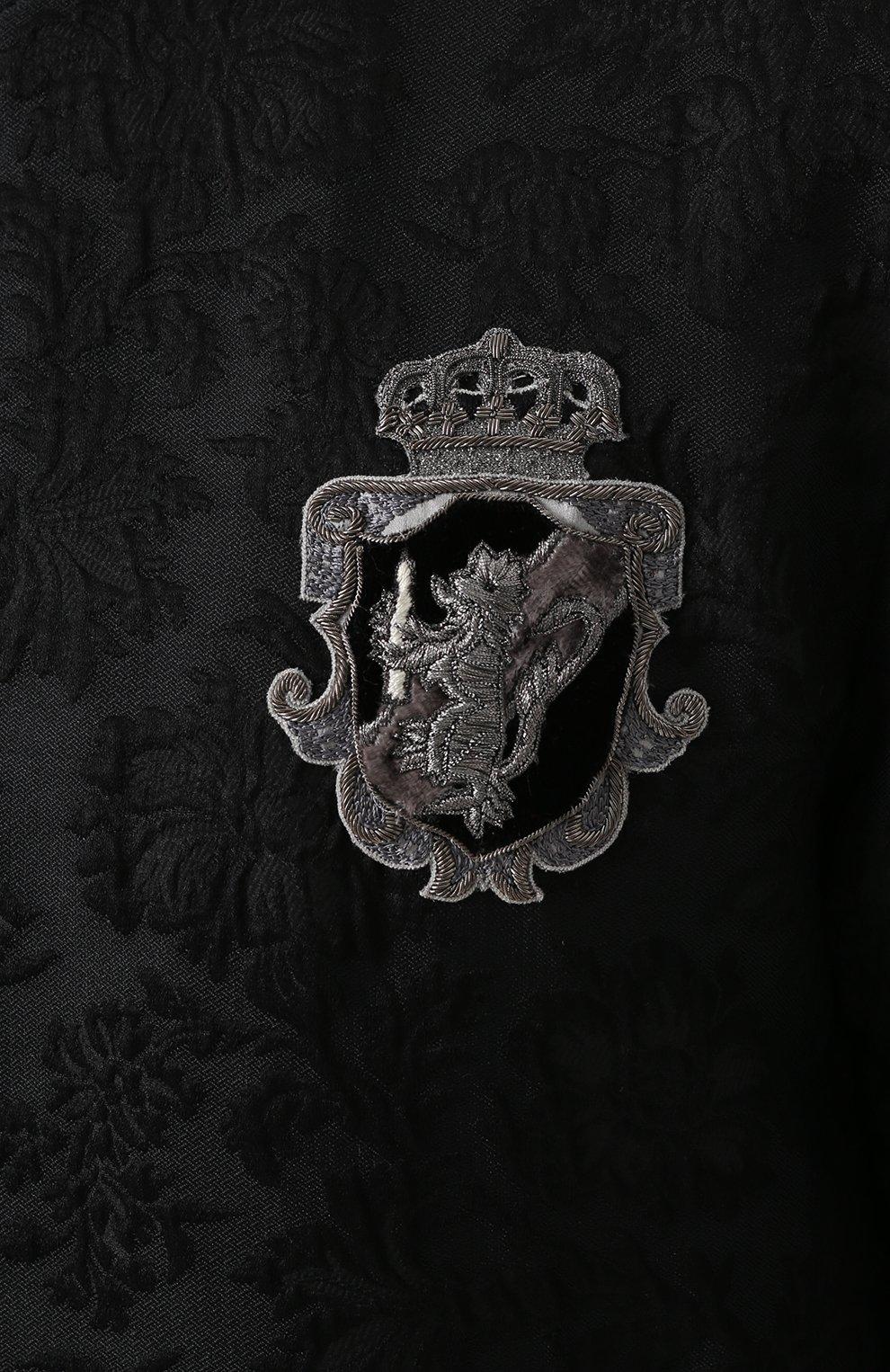 Бомбер на молнии из смеси шерсти и хлопка с шелком Dolce & Gabbana черная   Фото №5