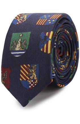 Шелковый галстук с принтом Dolce & Gabbana темно-синего цвета | Фото №1
