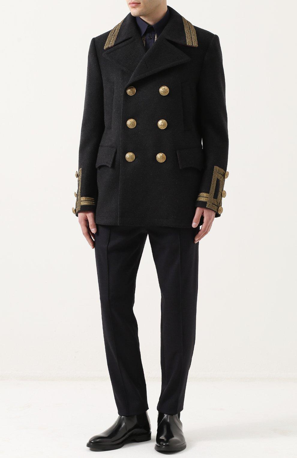 Укороченный бушлат из смеси шерсти и кашемира с контрастной отделкой Dolce & Gabbana серого цвета   Фото №2