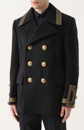 Укороченный бушлат из смеси шерсти и кашемира с контрастной отделкой Dolce & Gabbana серого цвета   Фото №3
