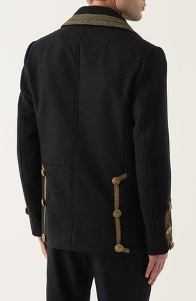 Укороченный бушлат из смеси шерсти и кашемира с контрастной отделкой Dolce & Gabbana серого цвета   Фото №4