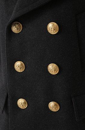 Укороченный бушлат из смеси шерсти и кашемира с контрастной отделкой Dolce & Gabbana серого цвета   Фото №5